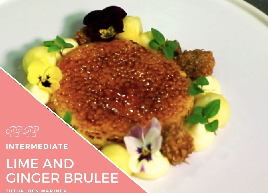 Video – Lime Creme Brulee with white chocolate whipped ganache toasted ginger oats and Malibu pineapple
