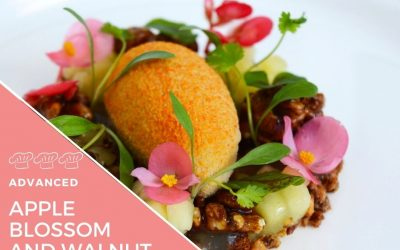 Recipe – Apple Ice Cream with walnut crumble vanilla cream and apple blossom