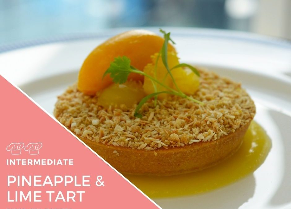 Recipe – Pineapple & Lime Curd, toasted ginger crumble, mango & lemongrass sorbet