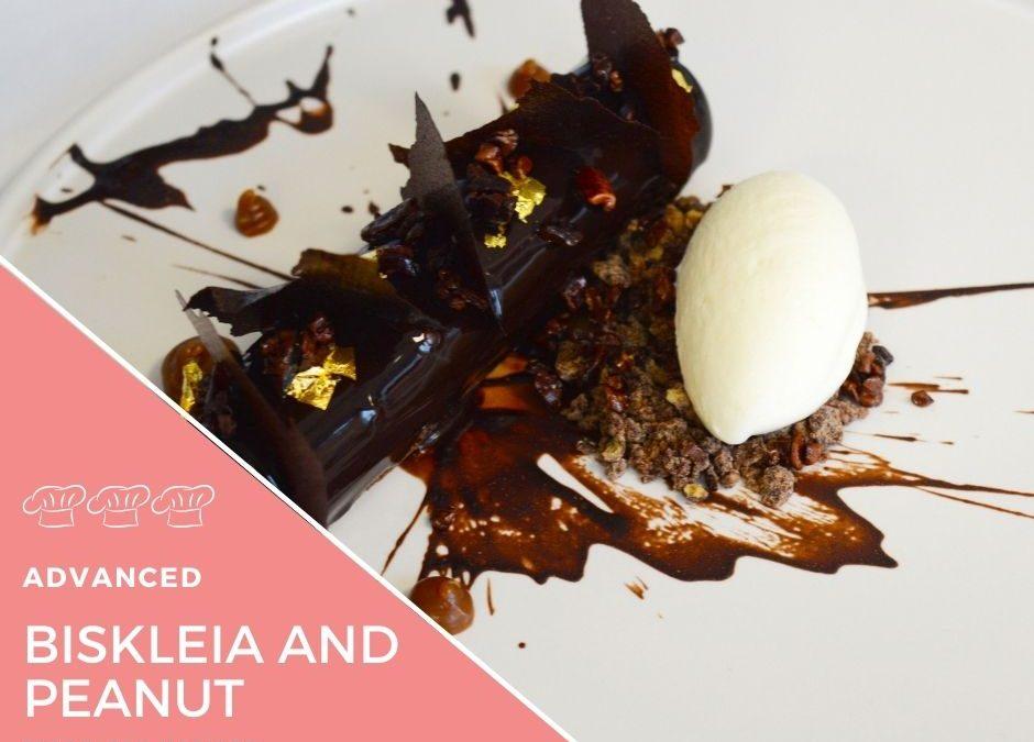 Recipe – Biskelia mousse with peanut caramel centre and milk ice cream