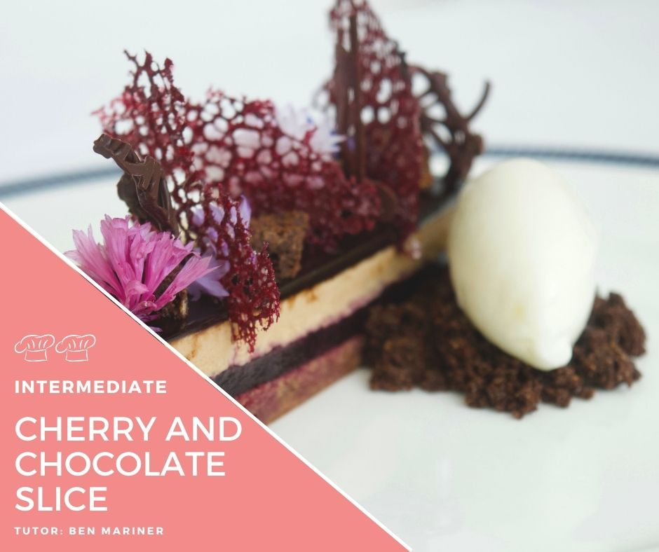 Recipe – Black forest slice with balsamic cherries and vanilla icecream